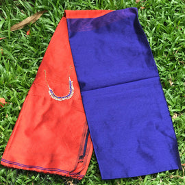 Blue Handloom Tussar & Cotton Mixed Saree with Red Pallu