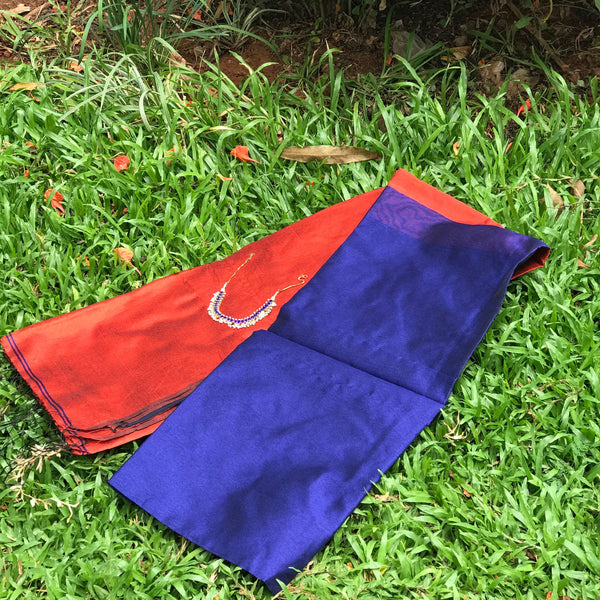 Blue Handloom Tussar & Cotton Mixed Saree with Red Pallu - Indianloom