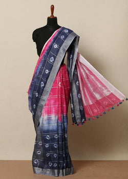 Handloom Linen Tie & Dye Saree - Indianloom