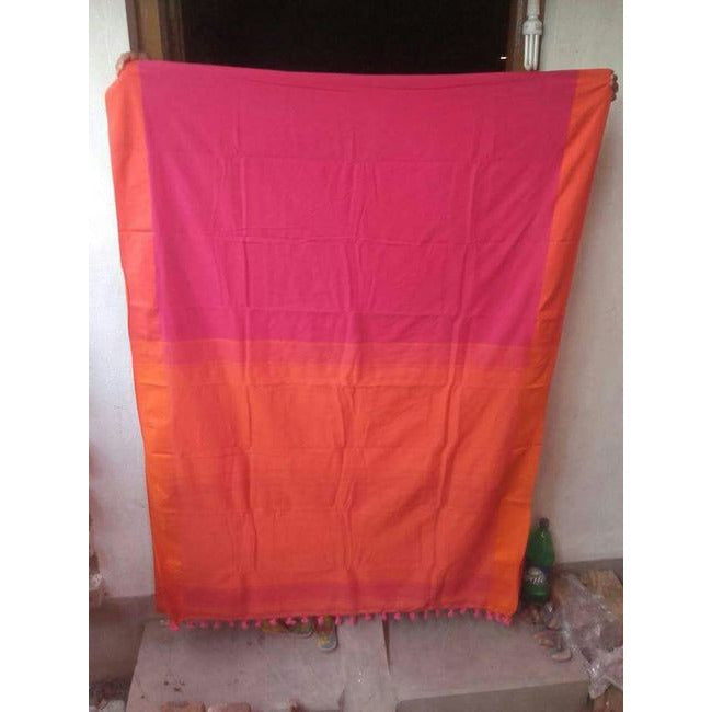 Pink & Orange Khadi Cotton Saree - Indianloom