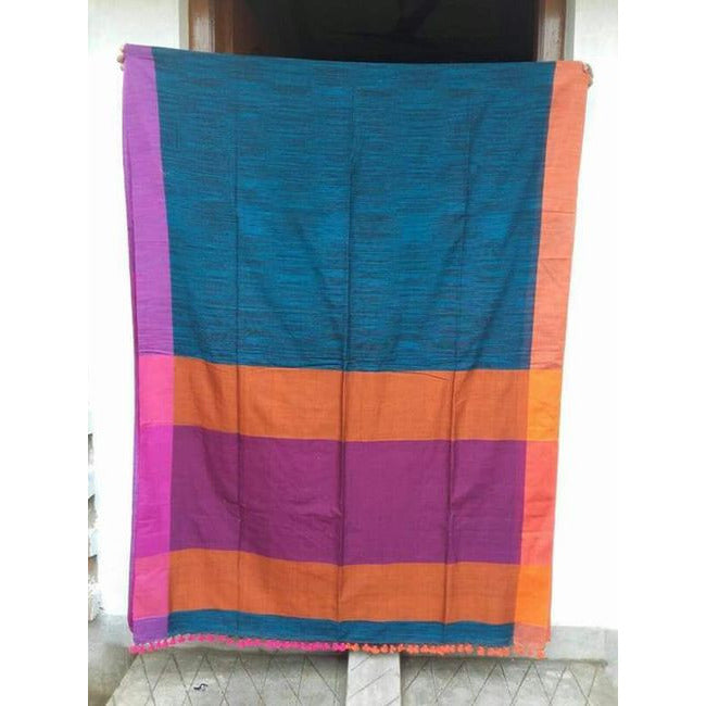 Blue & Black Striped Khadi Cotton Saree - Indianloom