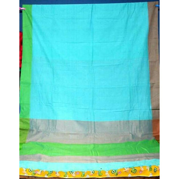 Aqua Blue Multi-Colour Khadi Cotton Saree - Indianloom