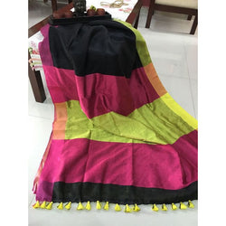 Black Multi-Colour Khadi Cotton Saree - Indianloom