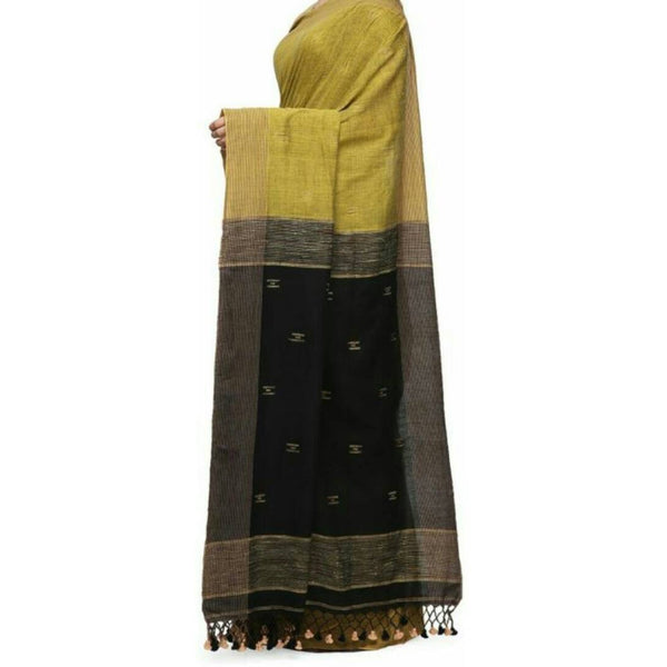 Mehendi Green & Black Soft Cotton Saree With Tassels - Indianloom