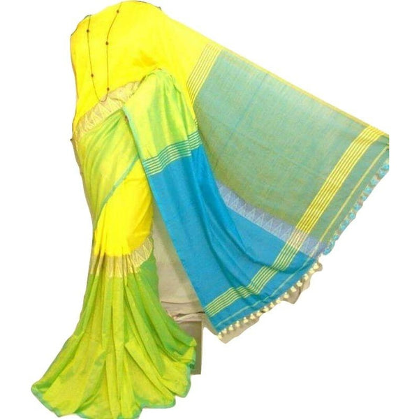 Multi Color Soft Cotton by Khadi Saree - Indianloom