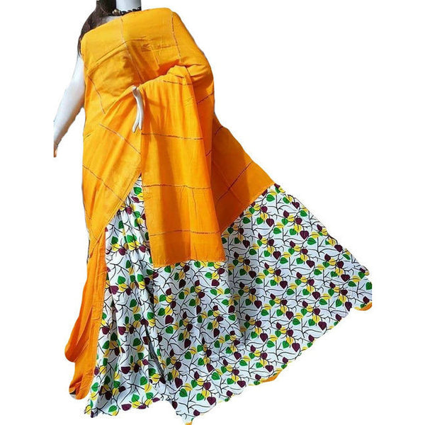 Yellow Geometric Leaves Khes Cotton Saree With Printed Pallu - Indianloom