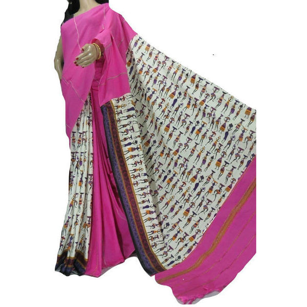 Pink Masai Khes Cotton Saree With Printed Pallu - Indianloom
