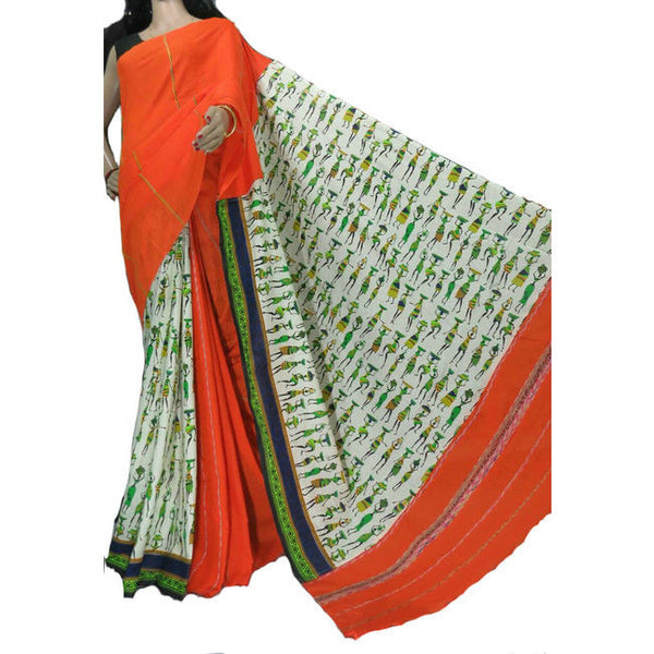 Rich Orange Masai Khes Cotton Saree With Printed Pallu - Indianloom
