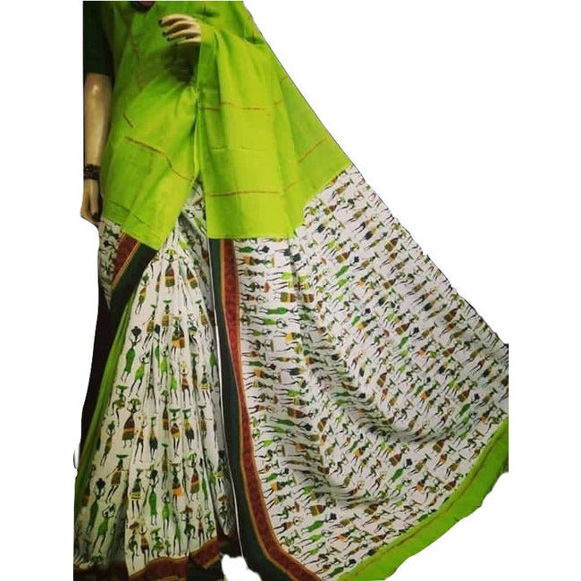 Green Masai Khes Cotton Saree With Printed Pallu - Indianloom