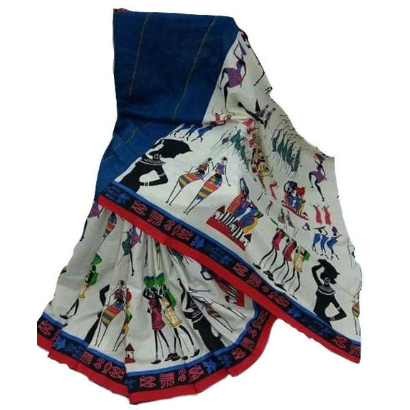 Blue Khes Cotton Saree With Printed Masai Life Pallu - Indianloom