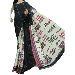 Classic Black Khes Cotton Saree With Printed Masai Life Pallu - Indianloom