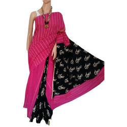 Hot Pink Motif Khes Cotton Saree With Printed Pallu - Indianloom
