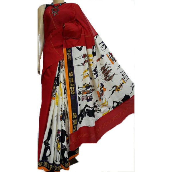 Red Masai Khes Cotton Saree With Printed Pallu - Indianloom