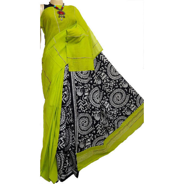 Green Khes Cotton Saree With Printed Pallu - Indianloom