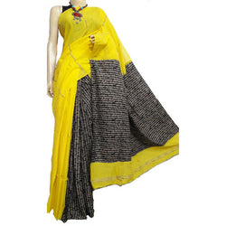 Bright Yellow Khes Cotton Saree With Printed Pallu - Indianloom