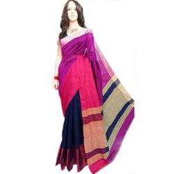 Purple & Blue Mahapar Saree With Ghicha Work - Indianloom
