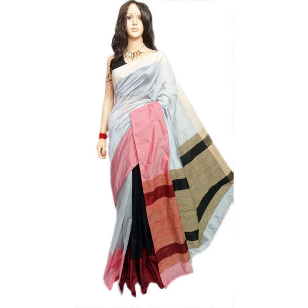 Ivory White & Black Mahapar Saree With Ghicha Work - Indianloom