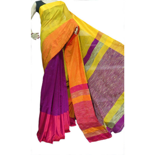 Purple Multi-Colour Mahapar Saree - Indianloom