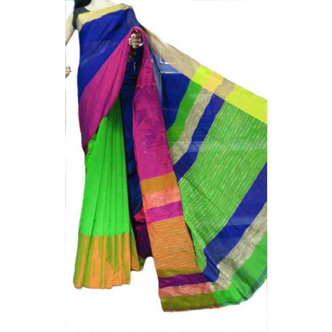 Bright Green Multi-Colour Mahapar Saree - Indianloom