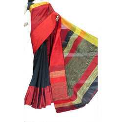Black & Red Mahapar Saree - Indianloom