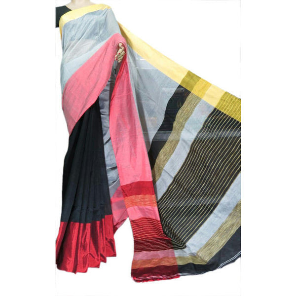 Black Multi-Colour Mahapar Saree - Indianloom