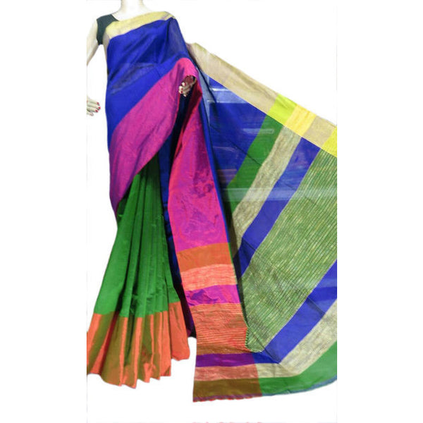 Green Multi-Colour Mahapar Saree - Indianloom