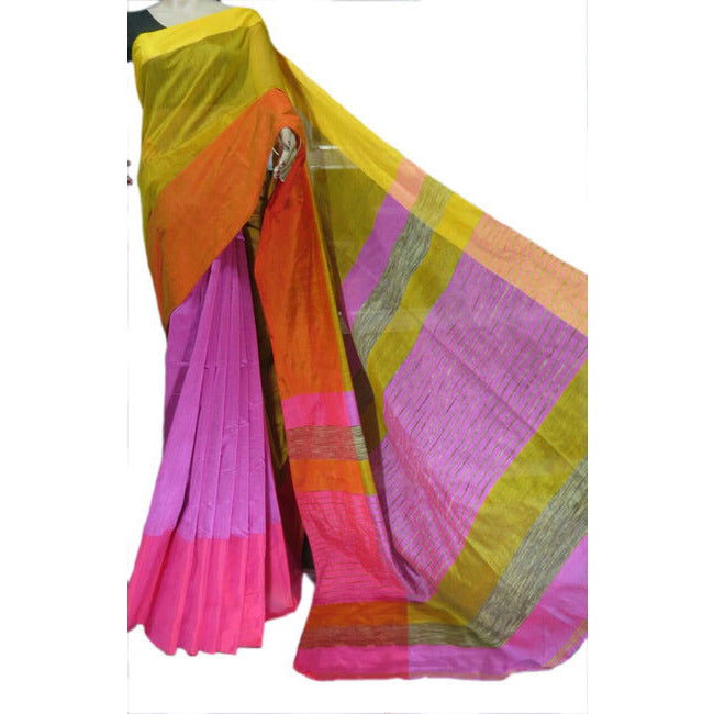 Light Purple Multi-Colour Mahapar Saree - Indianloom