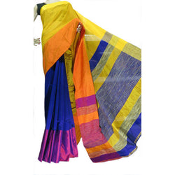 Peacock Blue Multi-Colour Mahapar Saree - Indianloom