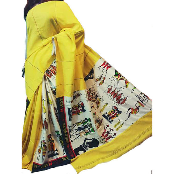 Yellow Masai Khes Cotton Saree With Printed Pallu - Indianloom