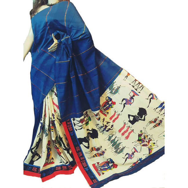 Blue Masai Khes Cotton Saree With Printed Pallu - Indianloom