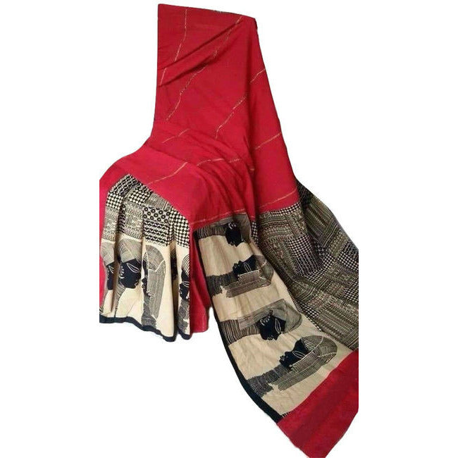 Classic Red Masai Khes Cotton Saree With Printed Pallu - Indianloom