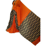 Orange Khes Cotton Saree With Leaf Printed Pallu - Indianloom