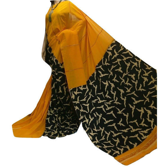 Yellow Birds On Flight Khes Cotton Saree With Printed Pallu - Indianloom