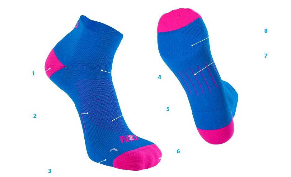 M2O Low Rise Cycling and Sports Compression Socks Pink//Blue