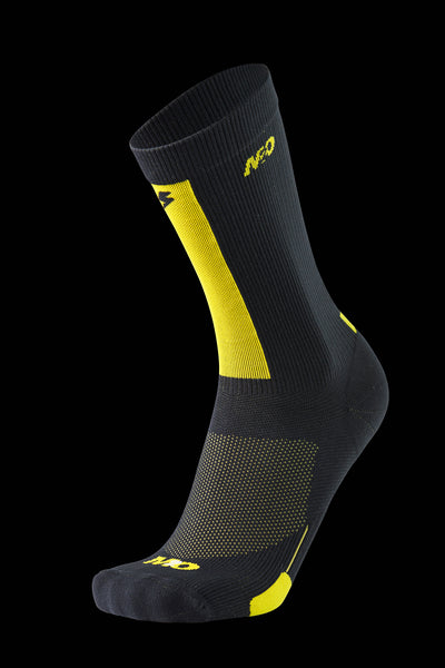 M2O Ride Fast Crew Plus Compression Sock - Black/Yellow - M2O Industries