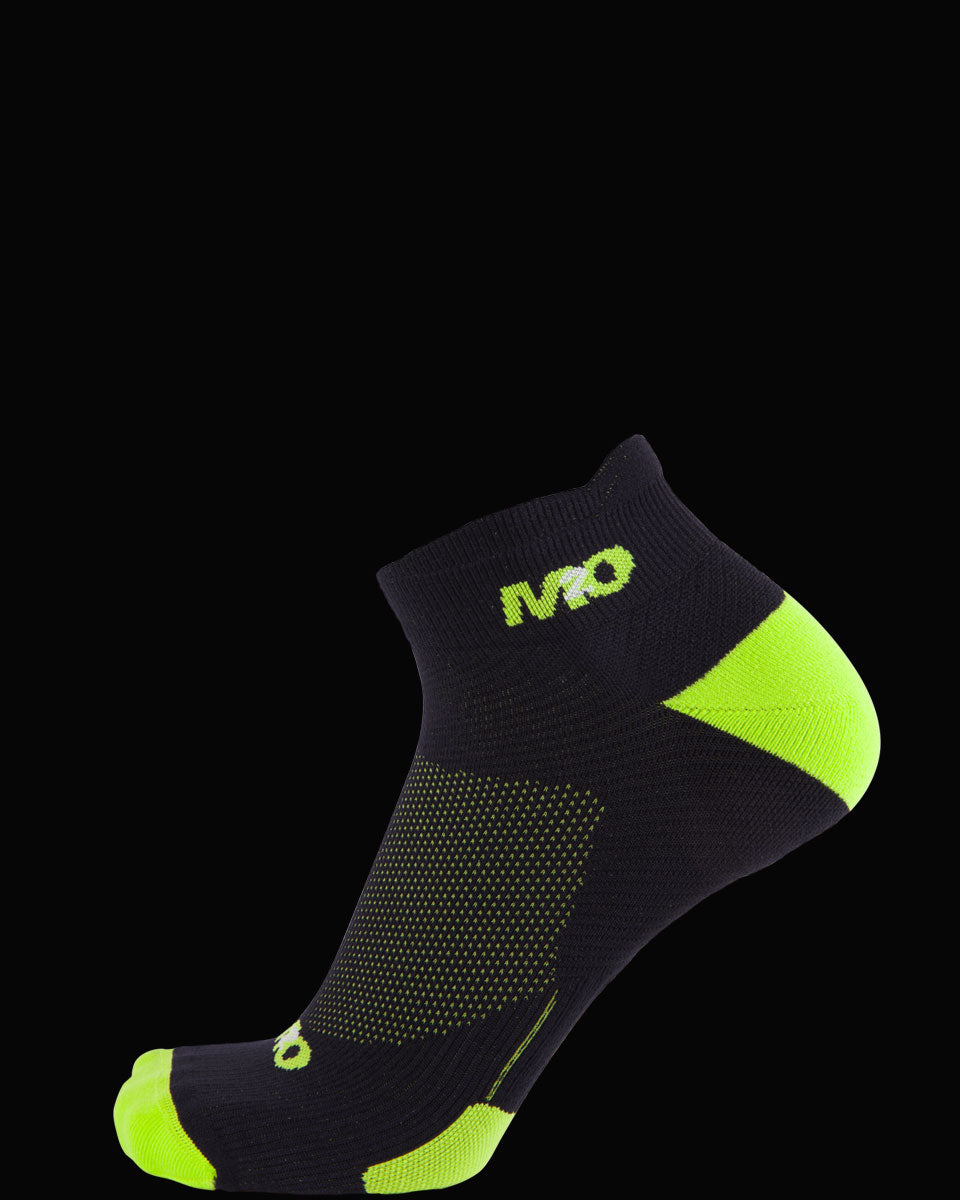 M2O Ankle  Sports Compression Sock Black/Fluro Yellow - M2O Industries