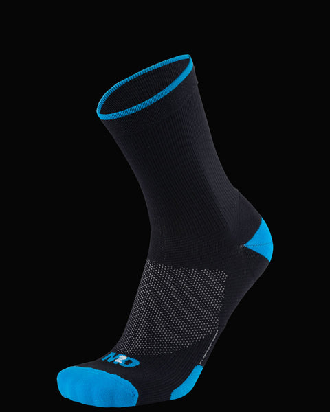 M2O Band 3/4 Cycling And Sports Compression Sock - Black/Cyan