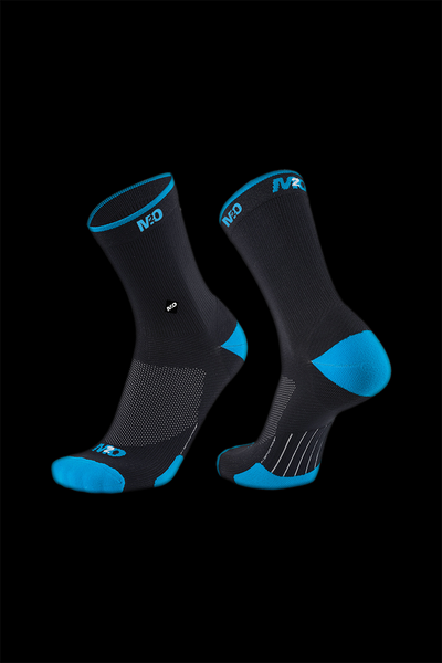 M2O Endurance Band Crew Plus Compression Sock- Black/Cyan - M2O Industries