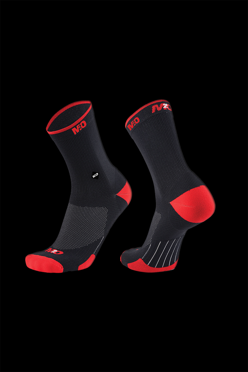 M2O Endurance Band Crew Plus Sock- Black/Red