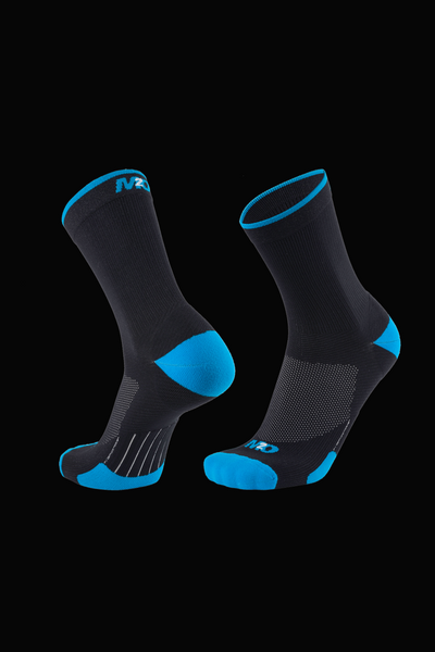 M2O Band Crew Compression Sock - Black/Cyan - M2O Industries