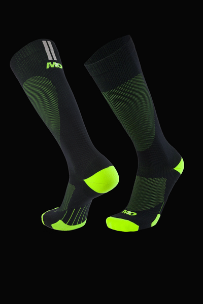 M2O Run Tech Knee High Compression Sock - Black/Fluro Yellow - M2O Industries