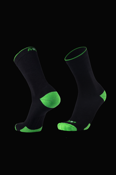 M2O Merino Wool Crew Compression Sock - Black/Green - M2O Industries