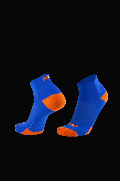 M2O 1/4 Crew Compression Sock - Blue/Orange - M2O Industries