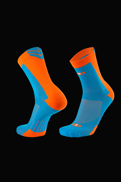 M2O Shield Crew Compression Sock - Blue/Orange - M2O Industries
