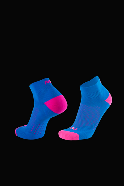 M2O 1/4 Crew Compression Sock - Blue/Pink - M2O Industries