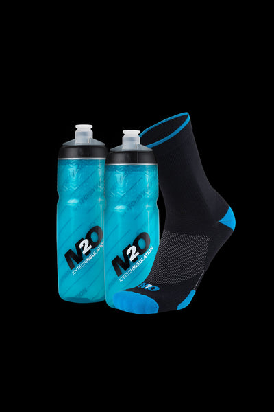 M2O Blue Band Crew Socks + 2 Pilot Insulated Bottle Combo Pack