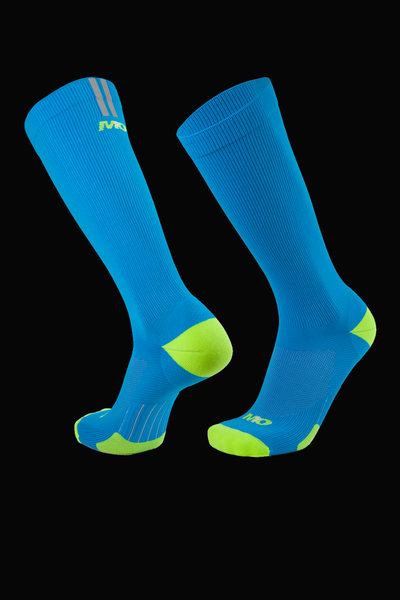 M2O Run Knee High Compression Sock - Blue/Fluro Yellow - M2O Industries
