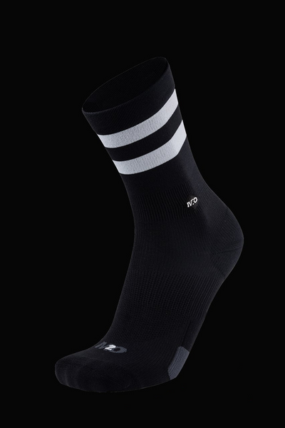 M2O Active Range Stripe Crew Plus Socks - Black White - M2O Industries