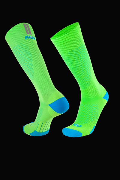 M2O Run Tech Knee High Compression Sock - Fluro Green/Cyan - M2O Industries