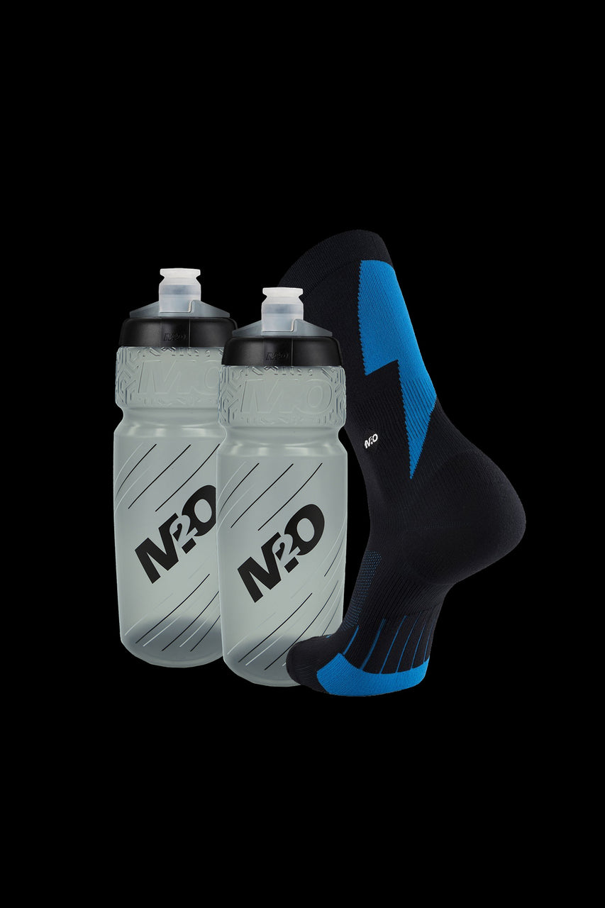 M2O Strike Crew Plus Socks + 2 x 710ml Pilot Bottles Combo Pack - M2O Industries